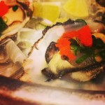 First dish, oysters on the half shell...