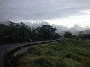 Bus rides through the clouds in the rainy season